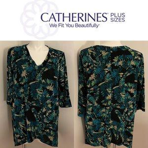Catherine's Plus Size Leaf Shirt Blue Green Black